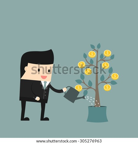 Business situation. Businessman watering a money tree. The concept of business development. Vector illustration. - stock vector