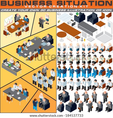 Business Situation Creation Kit. Vector Set Include Various Office Workers, Furniture and other Workplace Equipments. Create Your Own 3D Icon or Illustration for Print, Apps, Presentation or Web Site. - stock vector