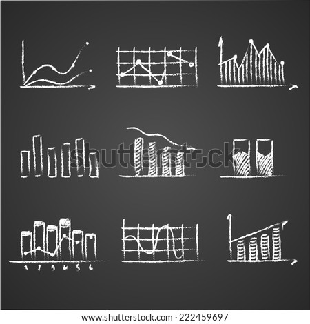 business sketches finance statistics infographics doodle hand drawn elements on blackboard chalkboard. Concept - graph, chart, arrows - stock vector