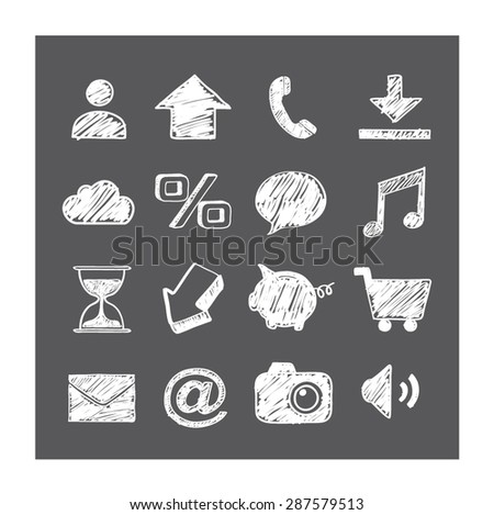 Business/smart phone icons. White drawing symbols on grey background. Vector illustration. - stock vector