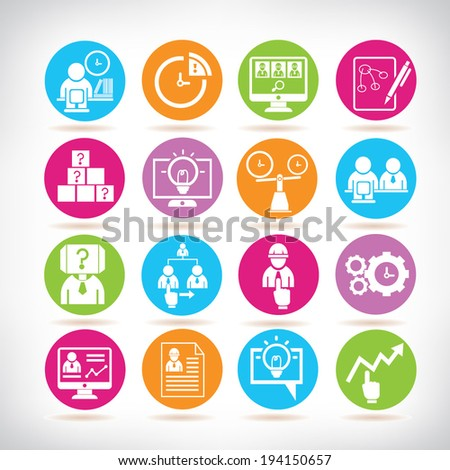 business solution icons set, business management icons set - stock vector