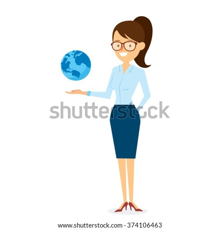 Business Solution with Woman Character Design. Vector Illustration - stock vector