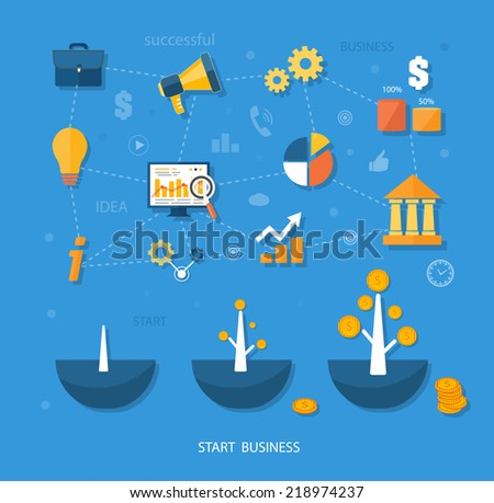 Business start infographics template. Scheme with linked, icons and gears. Tree with coins money grows flat design style - stock vector