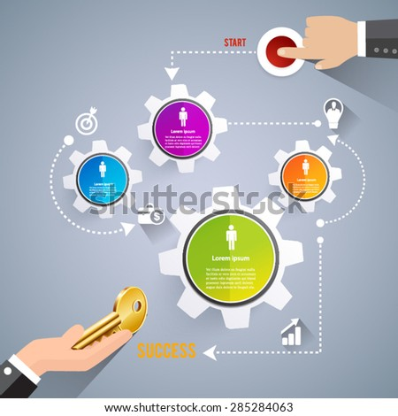 Business start teamwork - stock vector