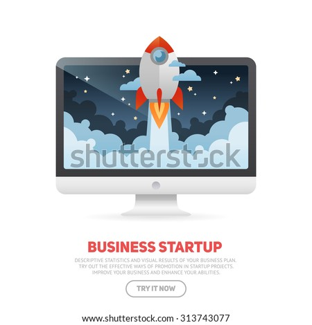 Business start up concept template with realistic desktop monoblock PC and flat cartoon rocket flying out of the display screen, isolated on white banner - stock vector