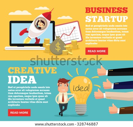 Business startup, creative idea flat illustration concepts set - stock vector