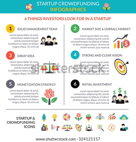 Business startup crowdfunding infographic layout poster with 6 important strategic hubs and pictograms symbols abstract vector illustration - stock vector