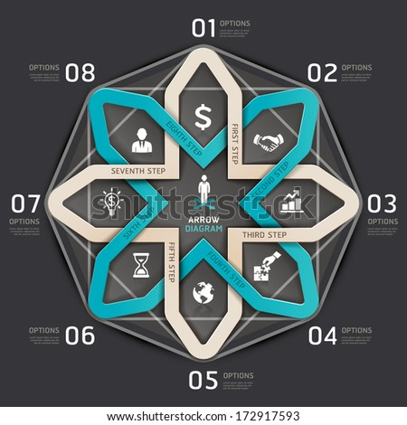 Business step arrow circle origami style. Vector illustration. can be used for workflow layout, Infographics, banner, diagram, number options, web design. - stock vector