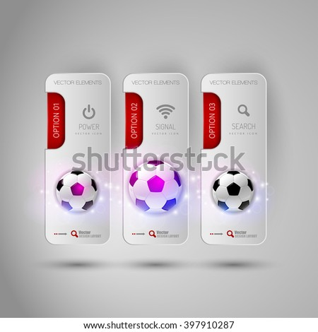Business stickers on the gray background with the football and soccer symbols. Sport design elements. - stock vector