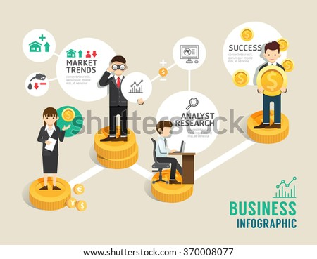 Business stock market board game flat line icons concept infographic step to successful,vector illustration - stock vector