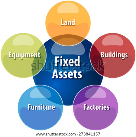 business strategy concept infographic diagram illustration of fixed assets types vector - stock vector