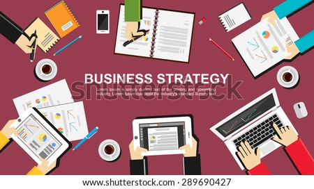 Business strategy illustration. Flat design illustration concepts for business, finance, management, career, employment agency, brainstorming, meeting, teamwork, planning.   - stock vector