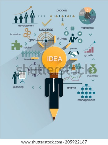 Business strategy plan concept idea,Light bulb with icons modern business and pencil. Vector illustration layout  template design - stock vector