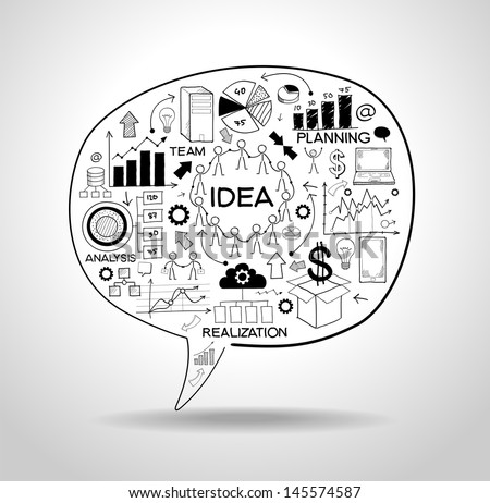 business strategy plan concept idea, speech bubble with doodle icons. File stored in version AI10 EPS. This image contains transparency. - stock vector