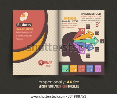 Business Strategy Theme Bi-Fold Brochure Design. Leaflet or Cover Design - stock vector