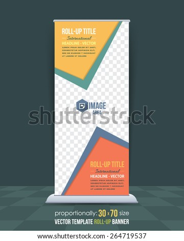 Business Style Roll-Up Banner, Advertising Vector Design - stock vector