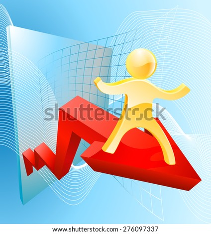 Business success concept of a 3d gold man mascot on an arrow with an upward trajectory - stock vector