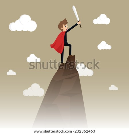 Business Success: Conceptual illustration for business success, depicting character on top of mountain.vector - stock vector