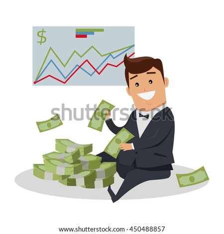 Business success illustration. Flat style design vector. Smiling man in business suit sitting near pile of dollar banknotes. Investment, wages, income, credit, savings, wealth concept. - stock vector