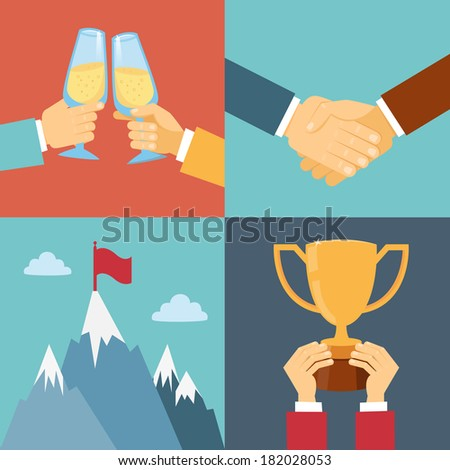 business success, leadership and win vector illustration in flat style - stock vector