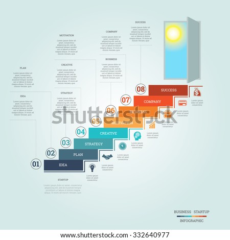 Business success startup, Conceptual infographics steps up ladders and doorway, template eight positions, possible to use for workflow, banner, diagram, web design, timeline, area chart,number options - stock vector