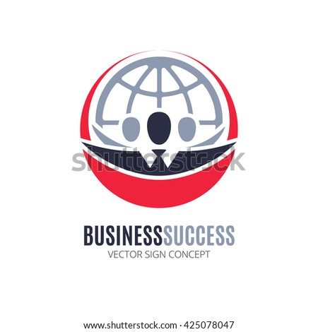 Business Success vector logo concept. Illustration with people silhouette and globe symbol. This logo could be used for successful businesses and service, social network, partnership, teamwork. - stock vector