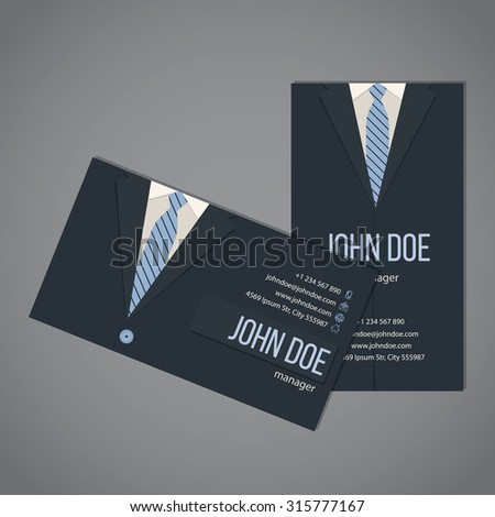 Business suit business card template design in dark and light blue color - stock vector