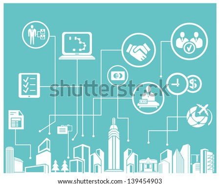 business system and management info graphic, background - stock vector
