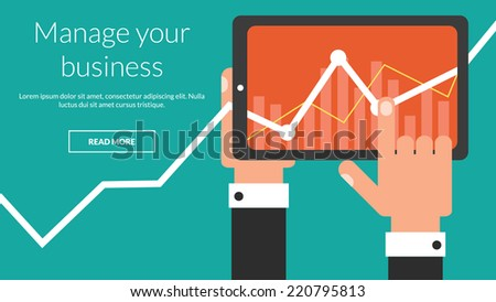 Business tablet computer with stock chart as a app. Vector concept for online advertising  - stock vector