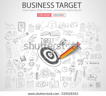 Business Targe Concept with Doodle design style :finding solution, brainstorming, creative thinking. Modern style illustration for web banners, brochure and flyers. - stock vector