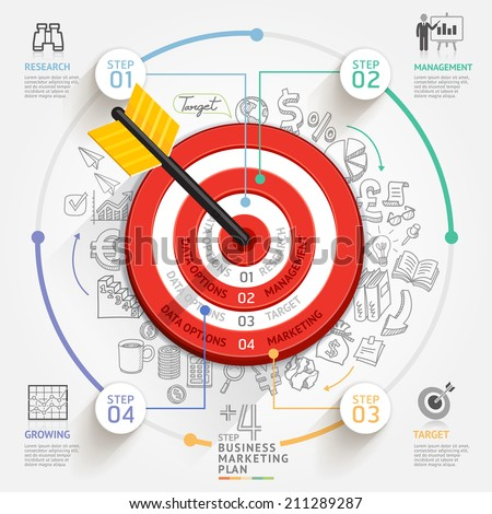 Business target marketing concept. Target with arrow and doodles icons. Can be used for workflow layout, banner, diagram, web design, infographic template. - stock vector