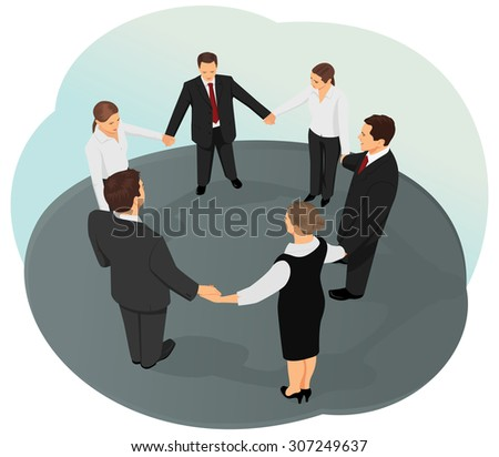 Business team are holding hands forming circle. Brainstorming and ideas. - stock vector