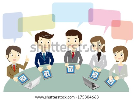 Business team during a meeting - stock vector