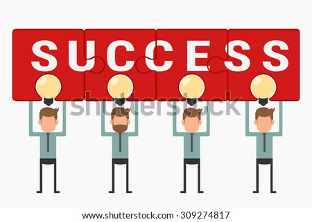 Business team hold and showing puzzle success above light bulb idea. Cartoon Vector Illustration. - stock vector