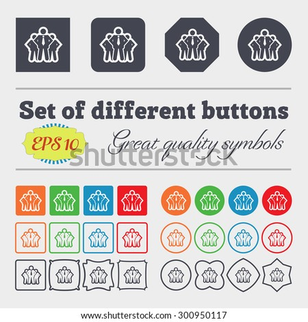 business team icon sign. Big set of colorful, diverse, high-quality buttons. Vector illustration - stock vector