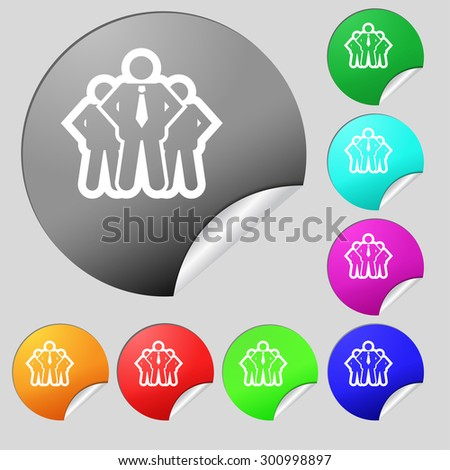 business team icon sign. Set of eight multi colored round buttons, stickers. Vector illustration - stock vector