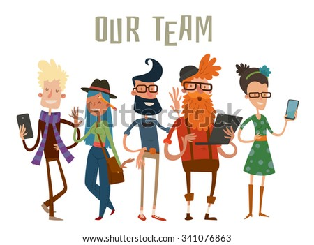 Business team people website profile about page. Company team command people isolated. Design studio people. designers, creative job people, art-director, boss team leader group portrait. Team people - stock vector
