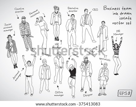 Business team posts and characters hand drawn isolate figures black lines. Every object is separated. Monochrome vector illustration. EPS10 - stock vector