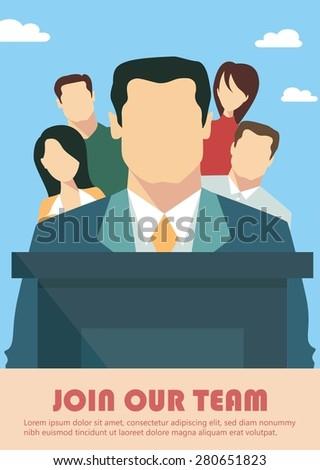 Business team presentation concept, team work success concept - stock vector
