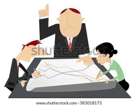 Business team. Serious chief directing the work of his employees   - stock vector