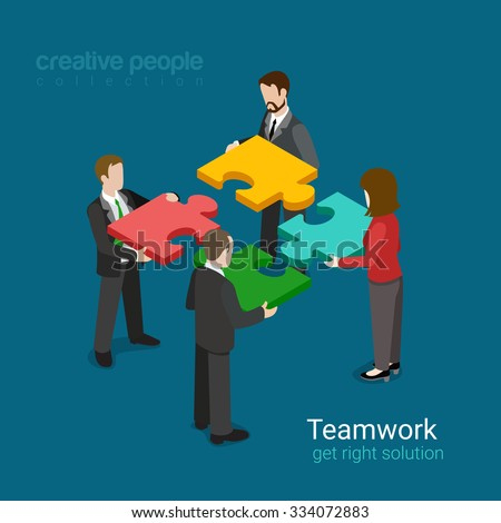 Business team solution in partnership concept flat 3d web isometric infographic vector. Four businessmen pushing pieces of puzzle. Creative people collection. - stock vector