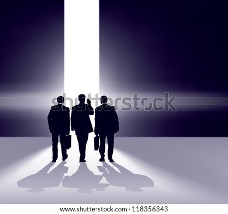 Business team walking forward through bright gap. - stock vector