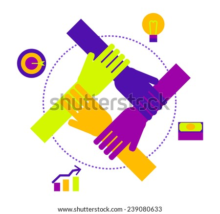 Business team work. People joining hands for business target. vector illustration - stock vector
