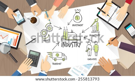 Business team working together on a desk and sketching on a poster about industry and production - stock vector