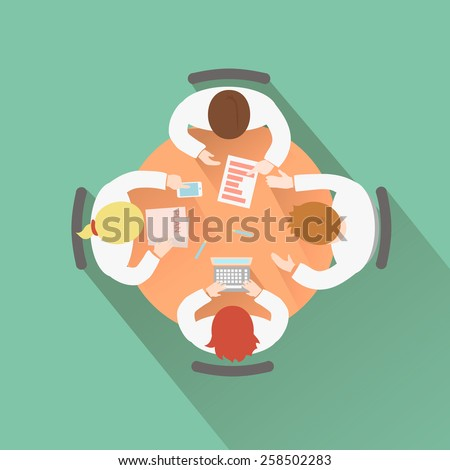 Business teamwork concept top view group people having a meeting around a round table discussion and brainstorming session - stock vector