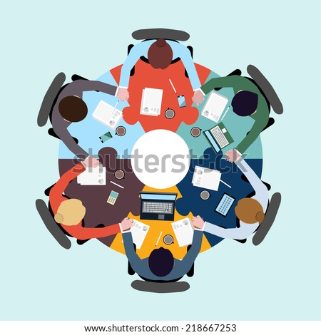 Business teamwork concept top view group people on table holding hands vector illustration - stock vector