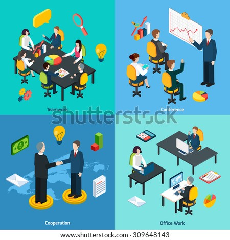 Business teamwork innovative ideas sharing conference and collaboration concept 4 isometric icons composition abstract isolated vector illustration - stock vector