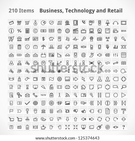 Business, Technology and Retail Items. Icons Set. - stock vector