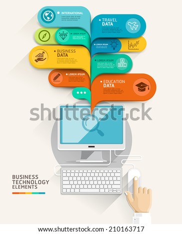 Business technology concept. Computer and bubble speech template. can be used for workflow layout, diagram, number options, step up options, web design, banner template, infographic. - stock vector