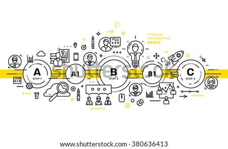 Business Technology Elements Set. Template with Steps and Options. Infographic Elements. Design Layout for Business Cards, Websites, Presentations, Flyers and Posters. Flat Style. Thin Line Icons. - stock vector